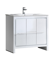 "Fresca FCB8136WH-I Allier 36"" White Modern Bathroom Cabinet with Sink"