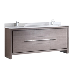 "Fresca FCB8172GO-CWH-U Allier 72"" Gray Oak Modern Double Sink Bathroom Cabinet with Top & Sinks"