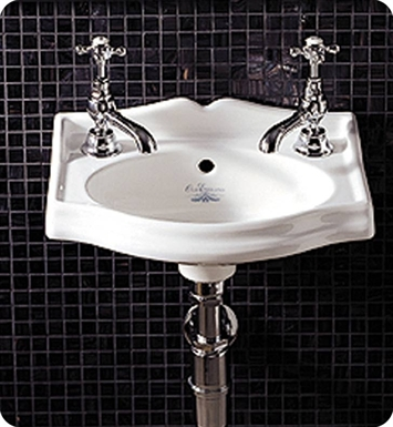 Whitehaus Small Rectangular Wall Mount Basin with Overflow and Integrated Oval Bowl - China Series