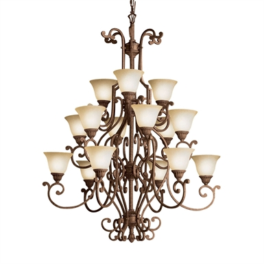 Kichler 2218TZG Larissa Collection Chandelier 15 Light in Tannery Bronze with Gold Accent