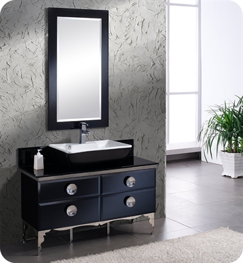 "Fresca FVN7714BL Moselle 48"" Modern Glass Bathroom Vanity with Mirror"