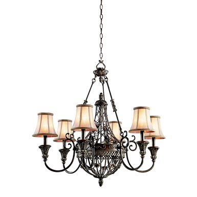 Kichler 42227TRZ Chandelier 6 Light in Terrene Bronze