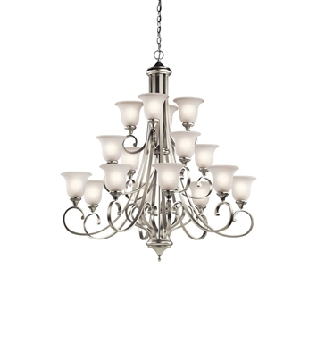 Kichler 43192NI Monroe Collection 43192 Chandelier 16 Light in Brushed Nickel