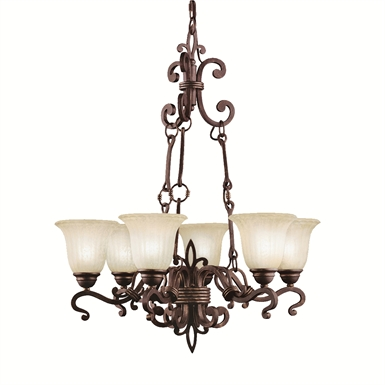 Kichler 2089CZ Wilton Collection Chandelier 6 Light in Carre Bronze