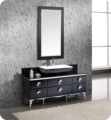 "Fresca FVN7716BL Moselle 60"" Modern Glass Bathroom Vanity with Mirror"