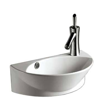 Whitehaus WHKN1131 Half-Oval Wall Mount Basin with Overflow and Integrated Oval Bowl - Isabella Series