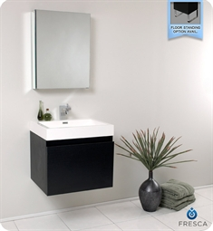 Fresca Nano Black Modern Bathroom Vanity with Medicine Cabinet