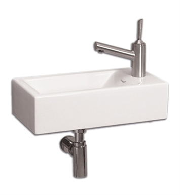 Whitehaus WH1-114R Wall Mount Basin with Center Drain and Right Side Drilling for Single Hole Faucet - Isabella Series