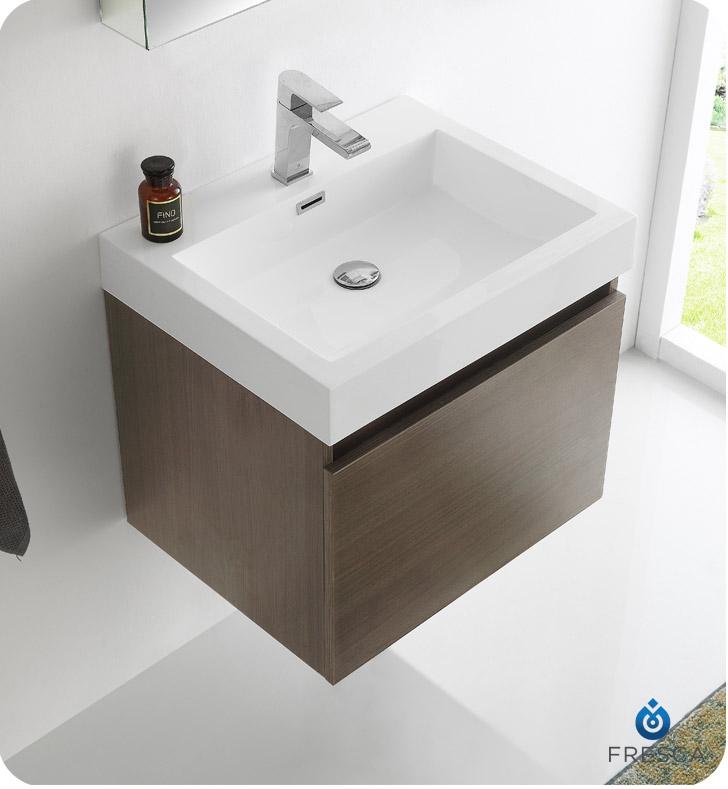 Fresca Fvn8006go Nano 24 Gray Oak Modern Bathroom Vanity