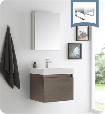 "Fresca FVN8006GO Nano 24"" Gray Oak Modern Bathroom Vanity with Medicine Cabinet"