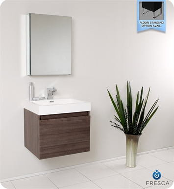 Fresca FVN8006GO Nano Modern Bathroom Vanity with Medicine Cabinet in Gray Oak