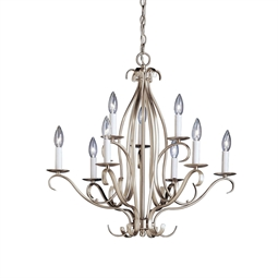 Kichler Portsmouth Collection Chandelier 9 Light in Brushed Nickel