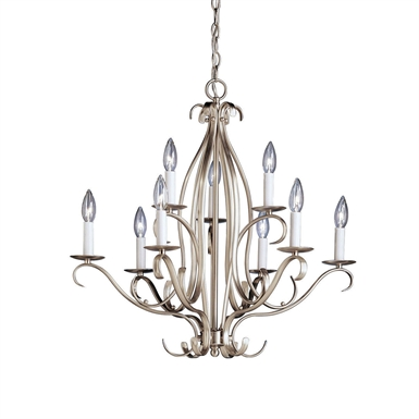 Kichler 2534NI Portsmouth Collection Chandelier 9 Light in Brushed Nickel