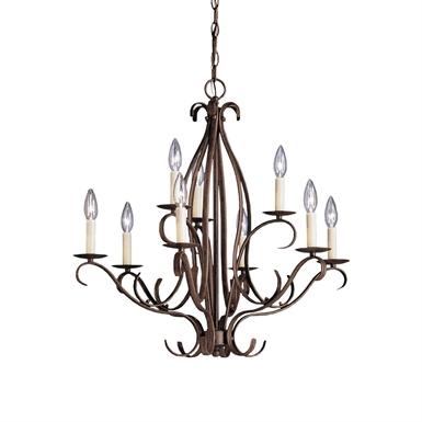 Kichler 2534TZ Portsmouth Collection Chandelier 9 Light in Tannery Bronze