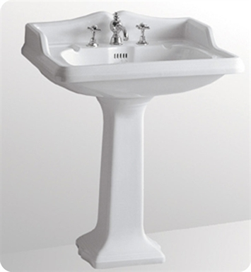 Whitehaus AR824-AR805 Large Traditional Pedestal with Overflow and Integral Rectangular Bowl - China Series