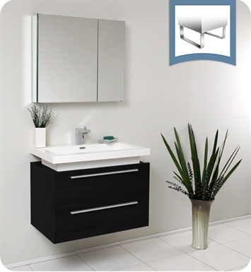 Fresca FVN8080BW Medio Modern Bathroom Vanity with Medicine Cabinet in Black