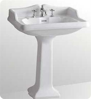 Whitehaus AR834-AR805 Large Traditional Pedestal with Overflow and Integral Rectangular Bowl - China Series