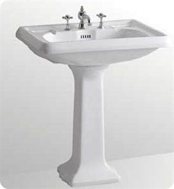 Whitehaus AR854-AR805 Large Traditional Pedestal with Overflow and Integral Rectangular Bowl - China Series