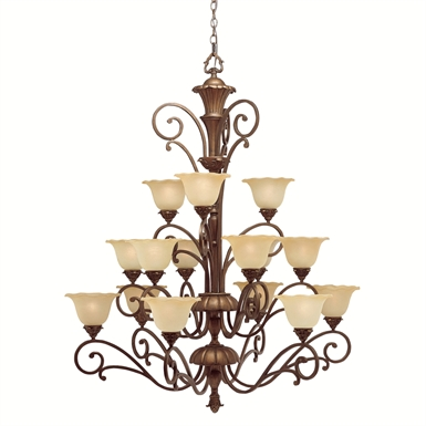 Kichler Cheswick Collection Chandelier 15 Light in Parisian Bronze