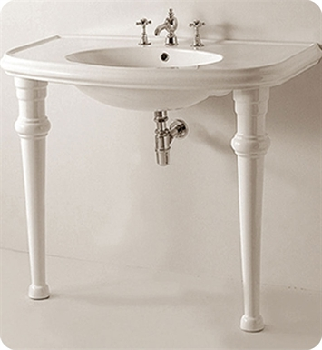 Whitehaus Large U-Shaped Console with Oval Bowl and Chrome Overflow - China Series