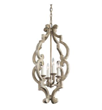 Kichler 43255DAW Hayman Bay 4 Light Incandescent Large Foyer Pendant in Distressed Antique White