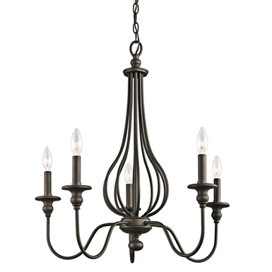 Kichler 43330OZ Kensington Collection Chandelier 5 Light in Olde Bronze