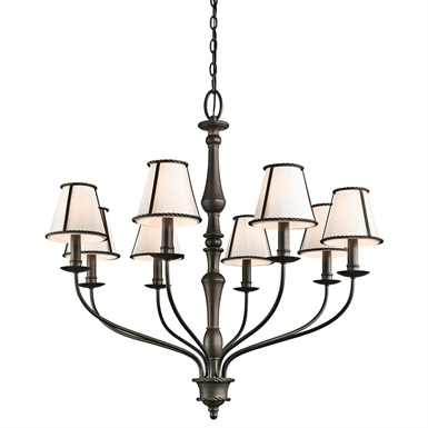 Kichler 43344OZ Donington Collection Chandelier 8 Light in Olde Bronze