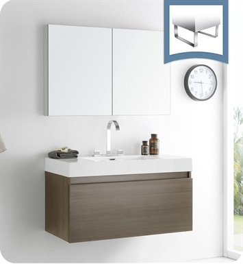 Fresca FVN8010GO Mezzo Modern Bathroom Vanity with Medicine Cabinet in Gray Oak