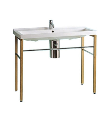 Whitehaus Large Rectangular Console with Chrome Overflow and Towel Bar - China Series