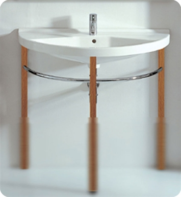 Whitehaus Large Semi-Circular Console with Chrome Overflow and Towel Rail - China Series