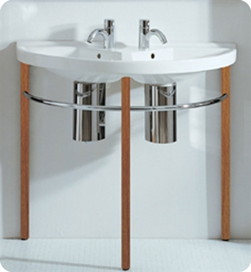 Whitehaus Large U-Shaped Double Basin Console with Chrome Overflows and Towel Rails - China Series