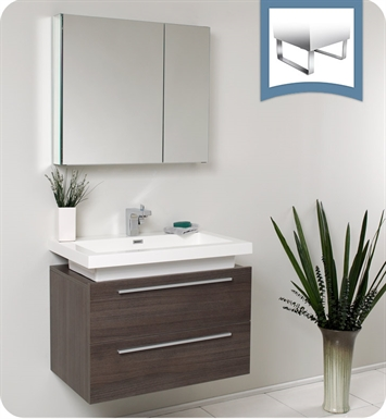"Fresca FVN8080GO Medio 32"" Gray Oak Modern Bathroom Vanity with Medicine Cabinet"