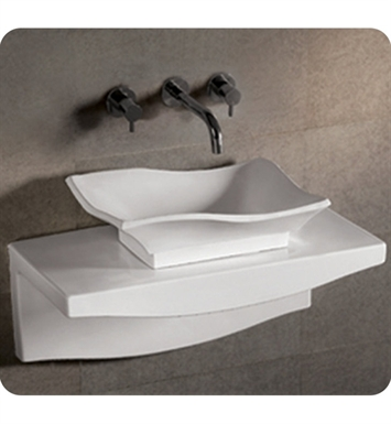 Whitehaus WHKN1078-1116 Rectangular Above Mount Basin with Offset Center Drain and Matching Wall Mount Countertop - Isabella Series