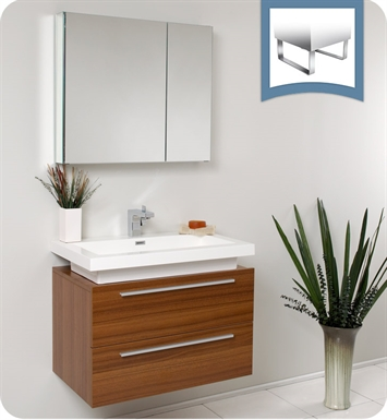 Fresca FVN8080TK Medio Modern Bathroom Vanity with Medicine Cabinet in Teak