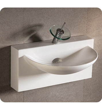 Whitehaus WHKN1114 Rectangular Wall Mount Basin with Integrated U-Shaped Bowl and Rear Center Drain - Isabella Series