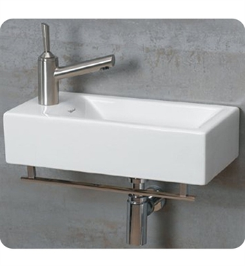Whitehaus WH1-114LTB Wall Mount Basin with Chrome Towel Bar and Left Side Drilling for Single Hole Faucet - Isabella Series