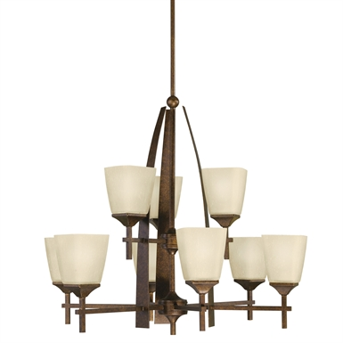 Kichler 2415MBZ Souldern Collection Chandelier 9 Light in Marbled Bronze