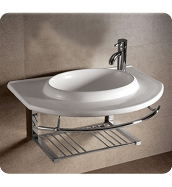 Whitehaus Large Wall Mount Basin with Integrated Round Bowl and Center Drain - Isabella Series