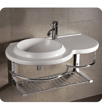 Whitehaus WHKN1125 Large Wall Mount Basin with Integrated Round Bowl and Center Drain - Isabella Series