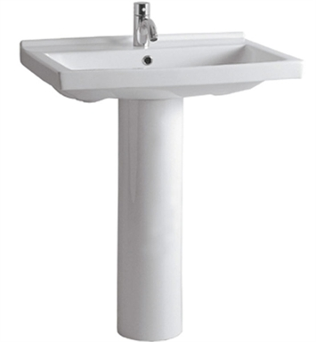 Whitehaus LU024-LU005 Tubular Pedestal with Rectangular Basin and Chrome Overflow - China Series