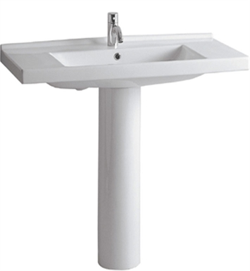 Whitehaus LU040-LU005 Tubular Pedestal with Rectangular Basin and Chrome Overflow - China Series