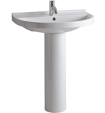 Whitehaus LU014-LU005 Tubular Pedestal with U-Shaped Basin and Chrome Overflow - China Series