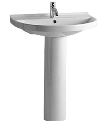Whitehaus Tubular Pedestal with Large U-Shaped Basin and Chrome Overflow - China Series