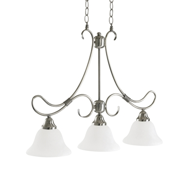Kichler 3856AP Stafford Collection Chandelier Linear 3 Light in Antique Pewter