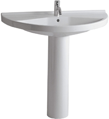 Whitehaus Large Semi-Circular Basin with Tubular Pedestal and Chrome Overflow - China Series