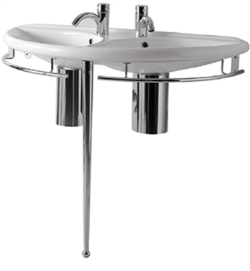 Whitehaus Semi-Circular Double Basin Console with Chrome Overflows and Towel Rails - China Series
