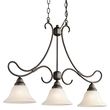 Kichler 3856OZ Stafford Collection Chandelier Linear 3 Light in Olde Bronze