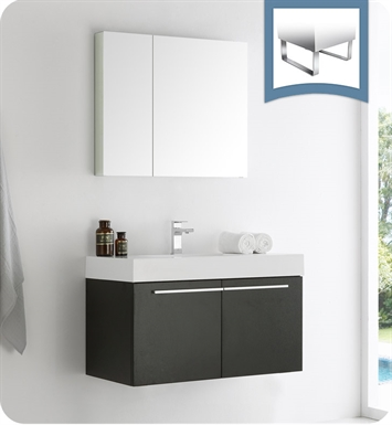 "Fresca FVN8090BW Vista 36"" Black Modern Bathroom Vanity with Medicine Cabinet"