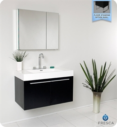 Fresca FVN8090BW Vista Modern Bathroom Vanity with Medicine Cabinet in Black