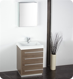 "Fresca FVN8024GO Livello 24"" Modern Bathroom Vanity with Medicine Cabinet in Gray Oak"